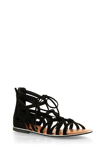 Faux Nubuck Lasercut Sandals,BLACK,large