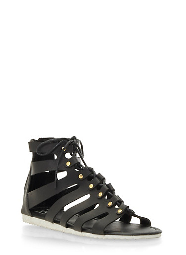 Faux Leather Gladiator Sandals,BLACK,large