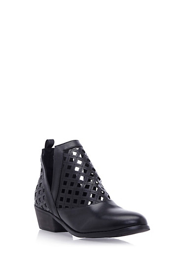 Lasercut Ankle Boots with Split Sides,BLACK,large