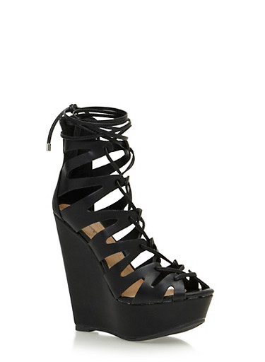 Faux Leather Platform Cage Wedges,BLACK,large