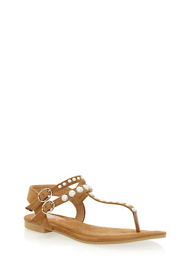 Faux Suede Double Strap Pearl Thong Sandals,CAMEL,large