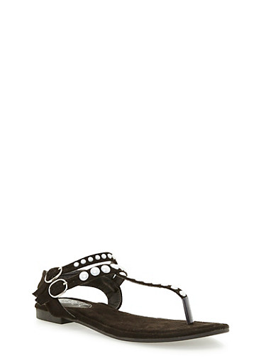 Faux Suede Double Strap Pearl Thong Sandals,BLACK F/S,large