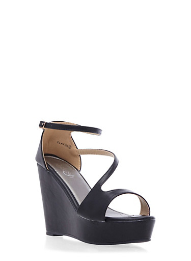Faux Leather Platform Wedges with Sculptural Straps,BLACK,large