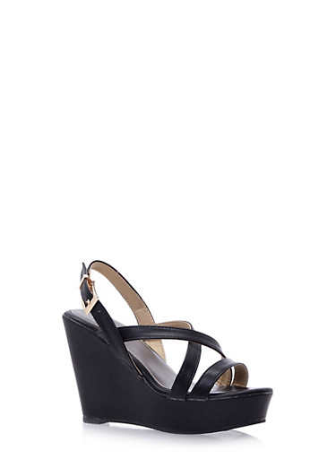 Faux Leather Platform Wedges with Cross-Over Straps,BLACK,large