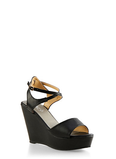 Faux Leather Platform Wedges,BLACK,large