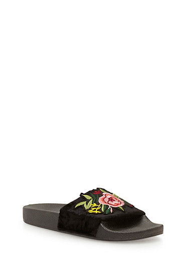 Floral Applique Crushed Velvet Slides,BLACK,large