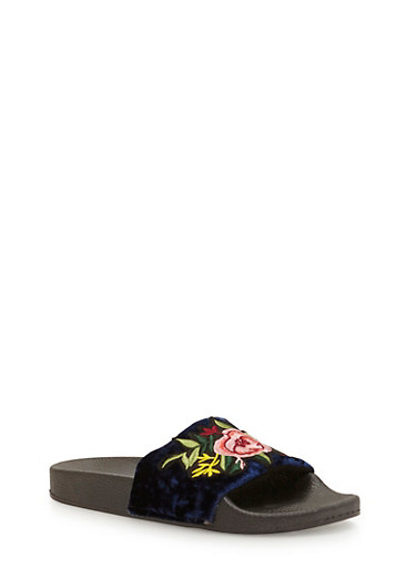 Floral Applique Crushed Velvet Slides,BLUE,large