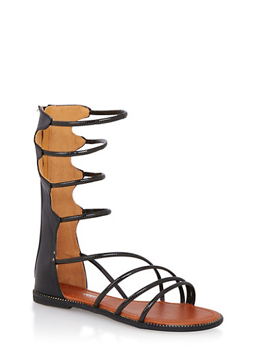 Metallic Gladiator Sandals with Striped Cord Straps,BLACK,large