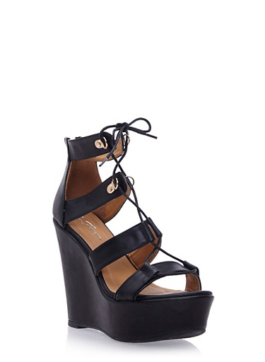 Faux Leather Platform Wedges with Lace-Up Front,BLACK,large