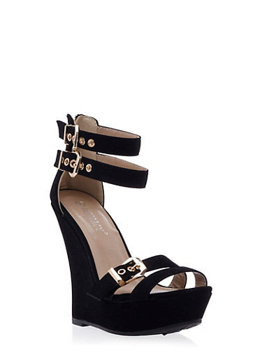 Faux Nubuck Platform Wedges with Geometric Buckles,BLACK,large
