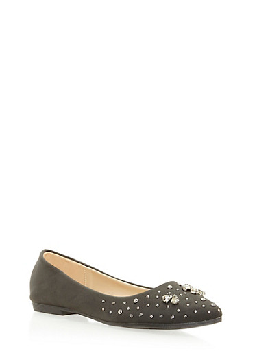Pointed Skimmer Flats with Studs,BLACK,large