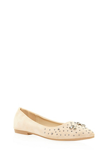 Pointed Skimmer Flats with Studs,NUDE,large