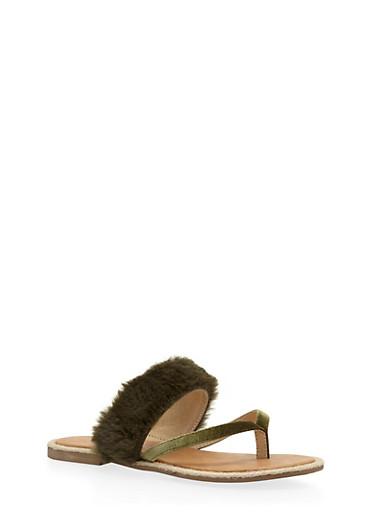 Faux Fur Thong Slide Sandals