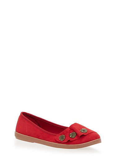 3 Button Skimmer Flats,RED F/S,large