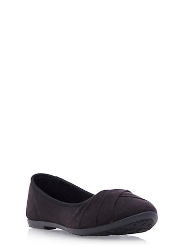 Round-Toe Flats with Pleated Toe Box,BLACK,large