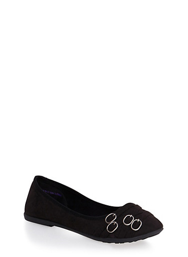 Round-Toe Flats with Four Buckle Accents at the Toe Box,BLACK,large