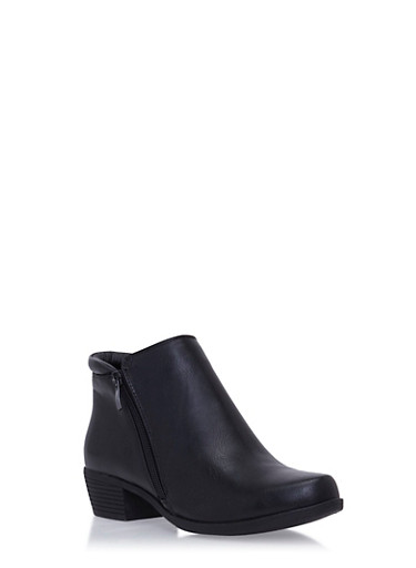 Ankle Booties with Dual Side Zips,BLACK PU,large