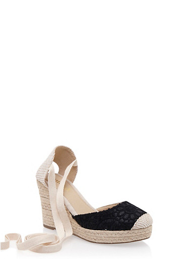 Ankle-Tie Espadrille Wedges with Crochet Toebox,BLACK,large
