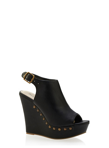 Faux Leather Platform Wedges with Studded Outsoles,BLACK,large