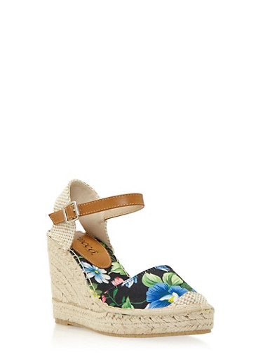 Floral Printed Espadrille Wedges,BLACK FLOWER PRINT,large