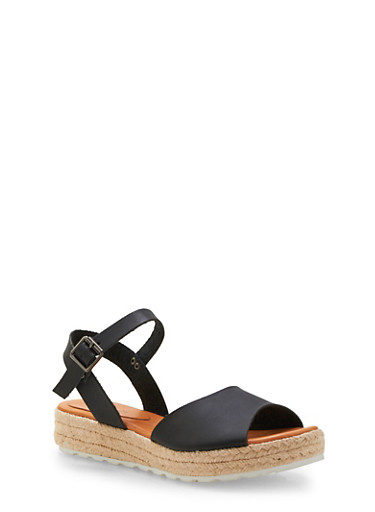 Espadrille Flatforms with Open Toes,BLACK,large