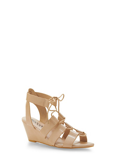 Faux Leather Lace-Up Wedges,SAND,large