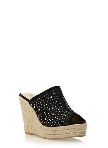 Espadrille Wedges with Embroidery and Crystal Accents,BLACK,large
