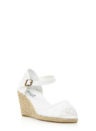 Crochet Espadrille Wedges with Ankle Strap,WHITE,large