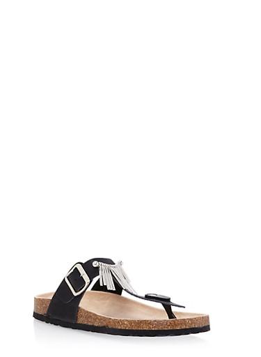 Faux Leather Sandals with Metallic Fringe,BLACK,large