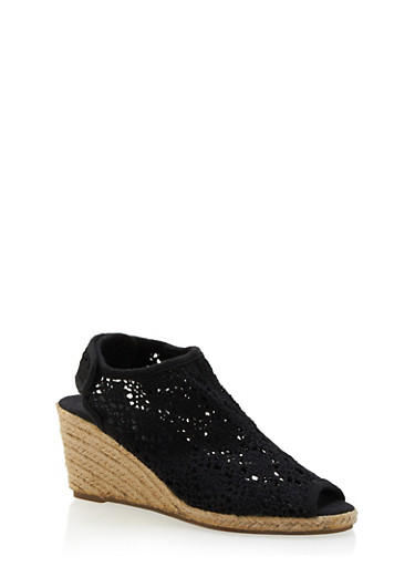 Peep-Toe Espadrille Wedges with Crochet Upper,BLACK,large