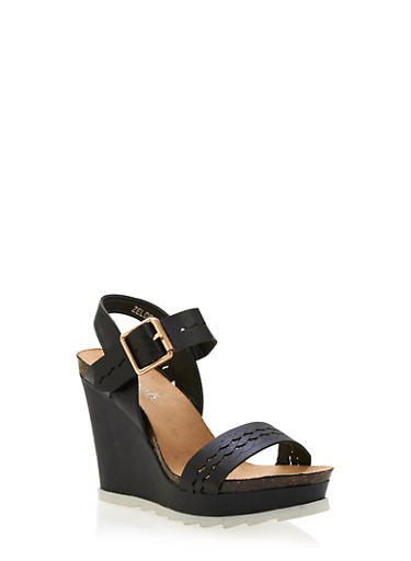 Platform Wedges with Lasercut Braided Design,BLACK,large