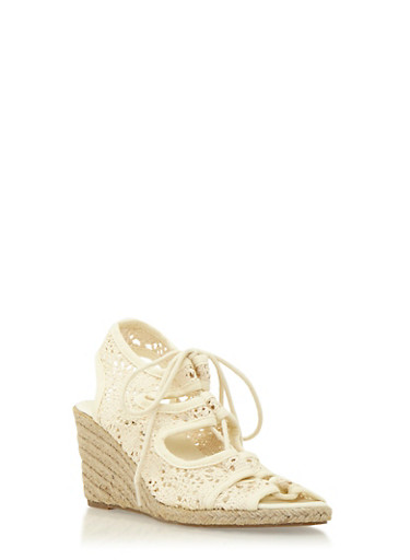 Espadrille Wedges with Lace-Up Front,BEIGE,large
