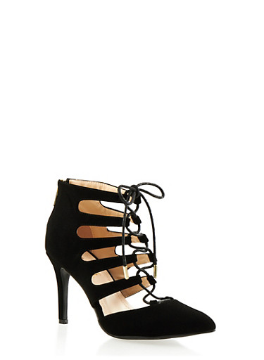 Pointed-Toe Ankle Boots with Lace-Up Front,BLACK NB,large