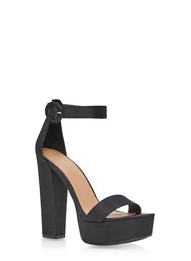 Platform Ankle Strap High Heel Sandals,BLACK SATIN,large