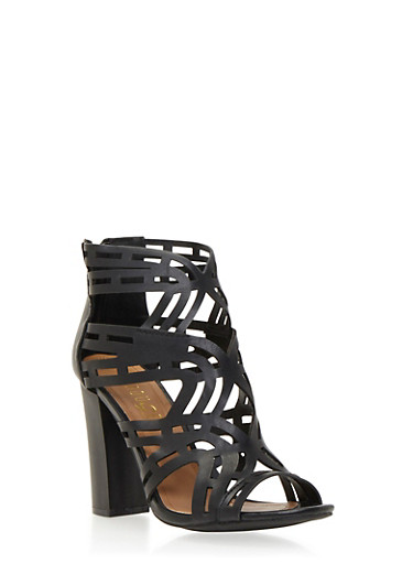 Lasercut Sandals with Peep Toe,BLACK,large