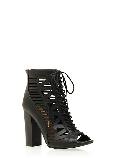 Lasercut Faux Leather Ankle Boots with Front Lace Accent,BLACK,large