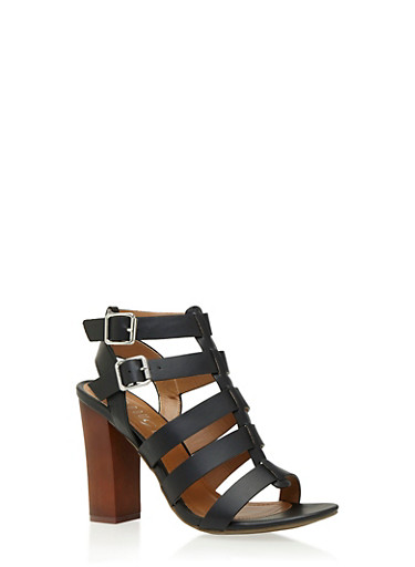 Caged Two Buckle Block Heel Sandals,BLACK,large