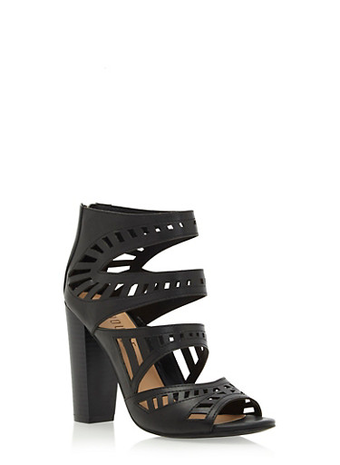 Lasercut Faux Leather Booties,BLACK BURNISHED,large