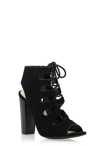 Open-Toe Booties with Front Lace-Up Detailing,BLACK,large