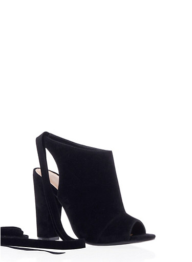 Faux Suede Booties with Open Toes and Ankle Ties,BLACK K/S,large