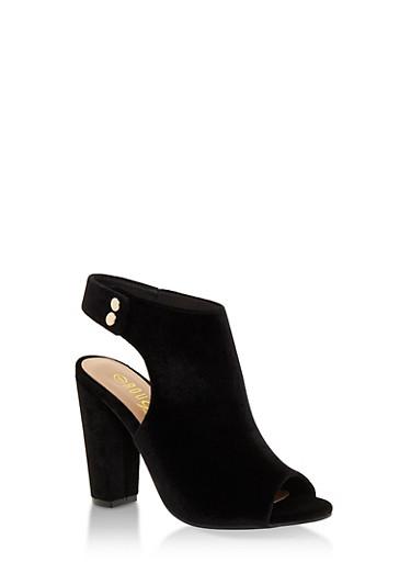 Open Toe Side Snap Printed High Heel Sandals,BLACK VELVET,large