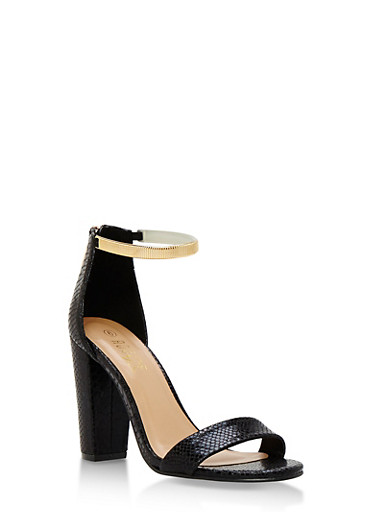 Metallic Ankle Strap Mid Heel Sandals,BLACK SNAKE,large