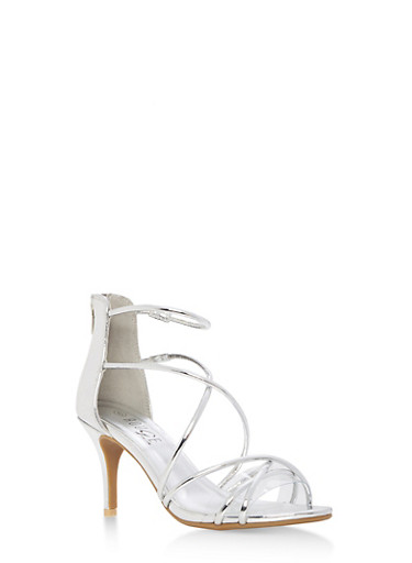 Strappy Mid Heel Sandals,SILVER PATENT,large