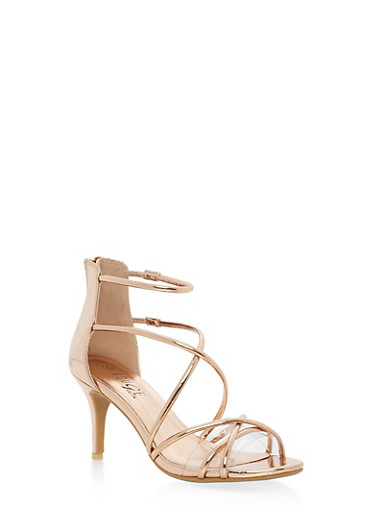 Strappy Mid Heel Sandals,ROSE GOLD PATENT,large