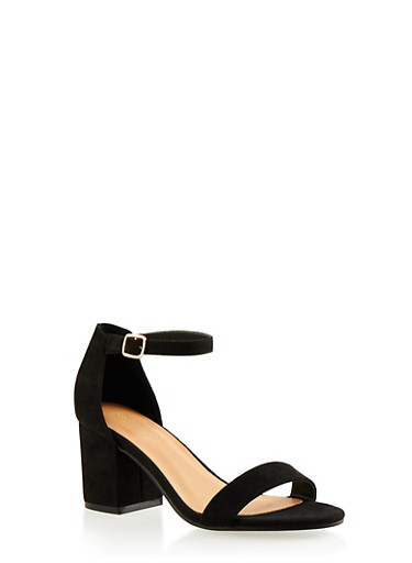 Faux Suede Sandals with Buckle Ankle Straps,BLACK F/S,large