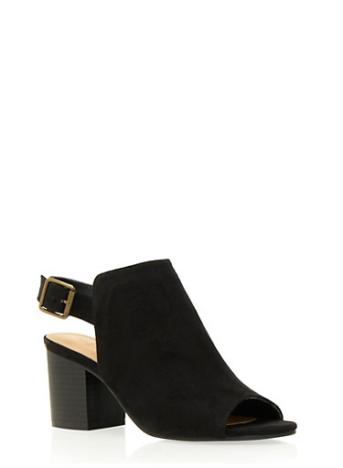 Faux Suede Open-Toe Booties with Chunky Heels,BLACK F/S,large