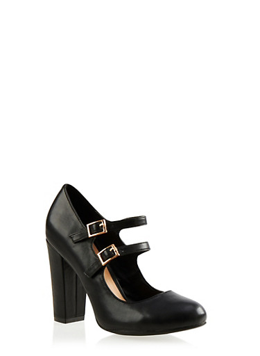 Faux Leather Double-Strap Mary Jane Pumps,BLACK PU,large