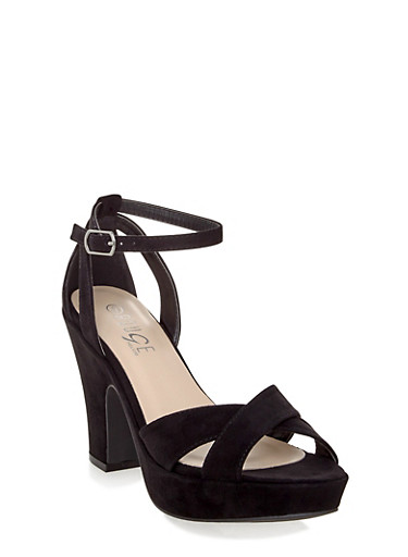 Brushed Faux Suede Ankle Strap Heels with Open Toe,BLACK F/S,large