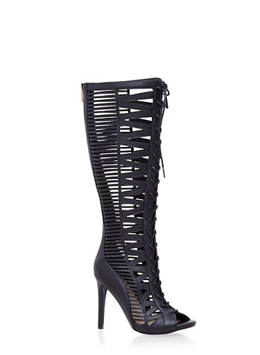 Tall Cutout Lace Up High Heels,BLACK,large