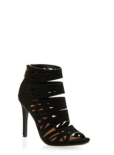 Lasercut Faux Suede Heels with Open Toes,BLACK NB,large